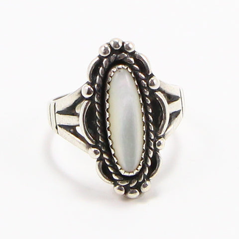 NAVAJO BRAIDED MOTHER OF PEARL RING - SIZE 6-Ring-BRETHREN + SISTREN