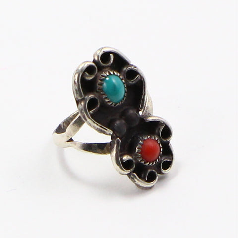 NAVAJO TURQUOISE & CORAL RING - SIZE 4.75-Ring-BRETHREN + SISTREN