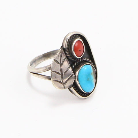 NAVAJO TURQUOISE & CORAL RING - SIZE 7.5-Ring-BRETHREN + SISTREN