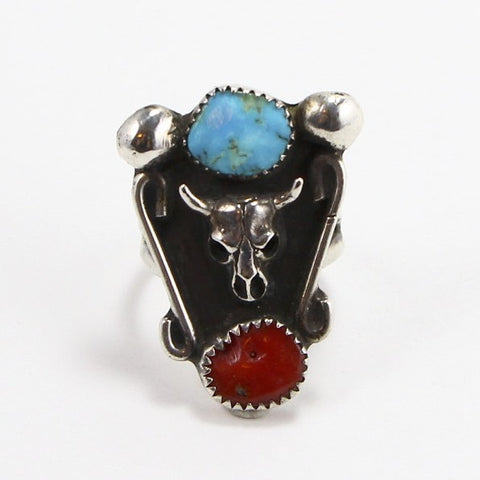 NAVAJO TURQUOISE & CORAL COW SKULL RING - SIZE 10-Ring-BRETHREN + SISTREN