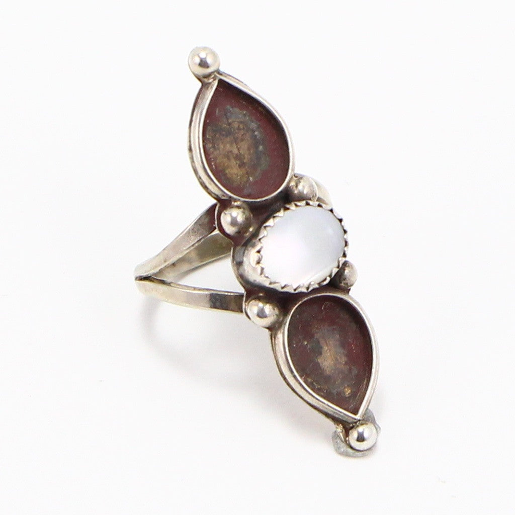 NAVAJO ELONGATED MOTHER OF PEARL RING - SIZE 6.75-Ring-BRETHREN + SISTREN