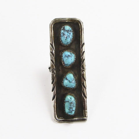 NAVAJO ELONGATED KINGMAN TURQUOISE RING - SIZE 6.5-Ring-BRETHREN + SISTREN