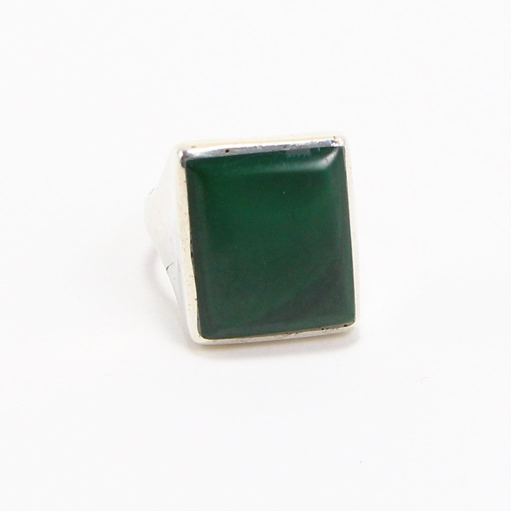 NAVAJO SQUARE TOP MALACHITE RING - SIZE 8.25-Ring-BRETHREN + SISTREN