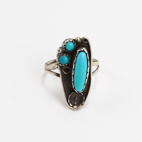 NAVAJO SLEEPING BEAUTY TURQUOISE RING - SIZE 8-Ring-BRETHREN + SISTREN