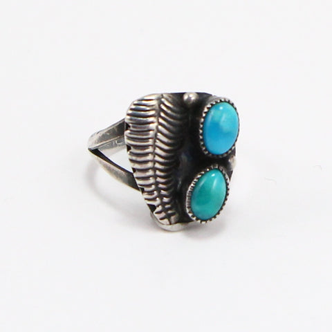 NAVAJO DOUBLE TURQUOISE FEATHER RING - SIZE 4.5-Ring-BRETHREN + SISTREN