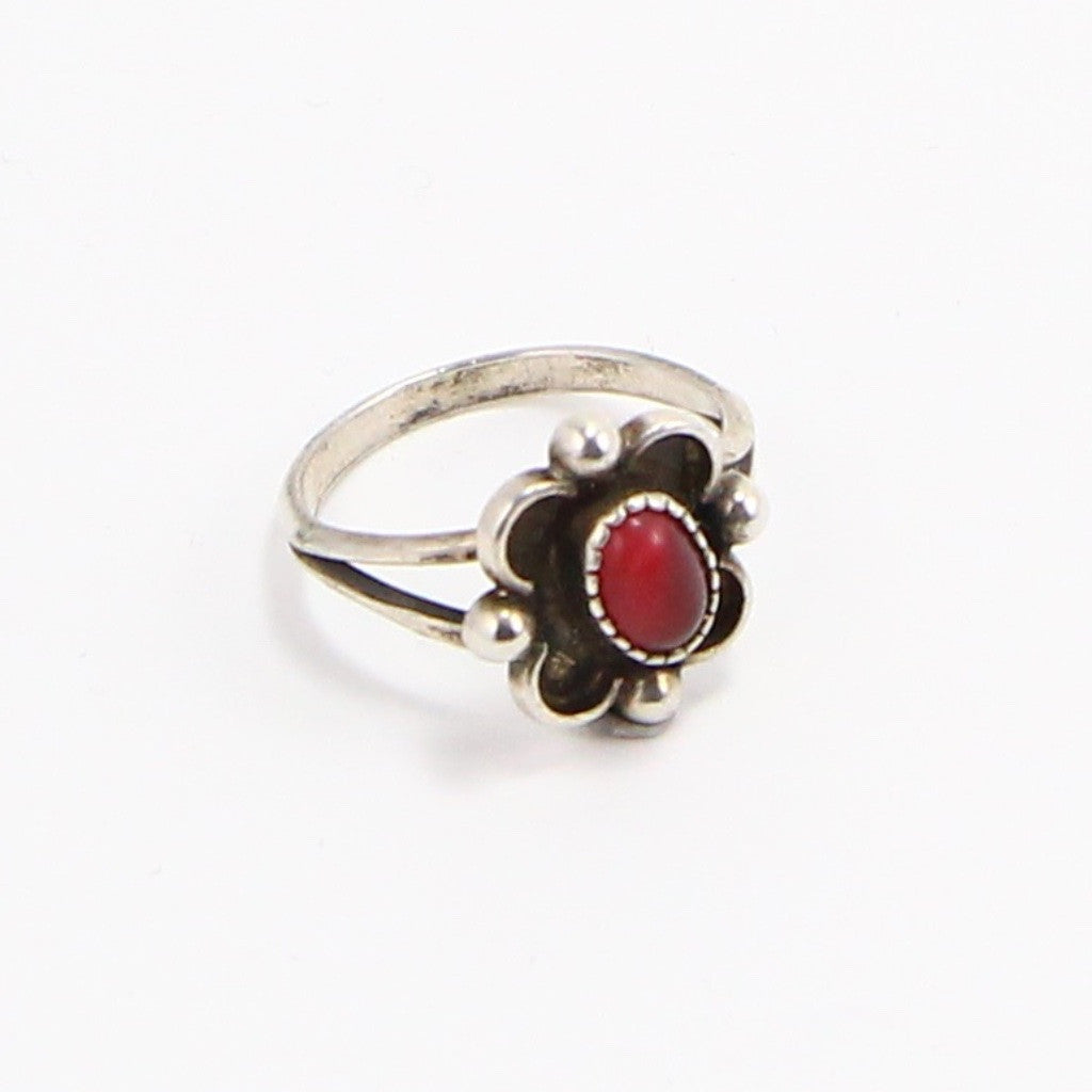 NAVAJO RED CAT EYE SHADOWBOX RING - SIZE 5.5-Ring-BRETHREN + SISTREN