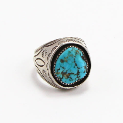 NAVAJO STAMPED TURQUOISE SHADOW BOX RING - SIZE 11.5-Ring-BRETHREN + SISTREN