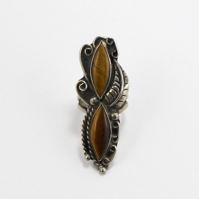 NAVAJO ELONGATED TIGERS EYE RING - SIZE 6.5-Ring-BRETHREN + SISTREN