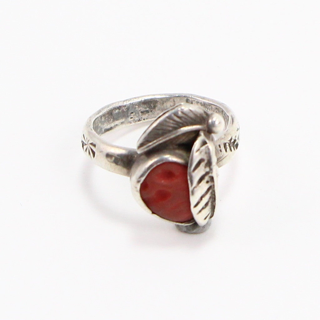NAVAJO CORAL HAND STAMPED RING - SIZE 4.5-Ring-BRETHREN + SISTREN