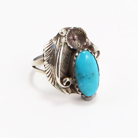 NAVAJO TURQUOISE FEATHER RING - SIZE 6-Ring-BRETHREN + SISTREN