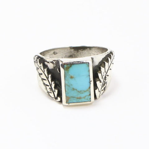 NAVAJO TURQUOISE & FEATHER RING - SIZE 12-Ring-BRETHREN + SISTREN