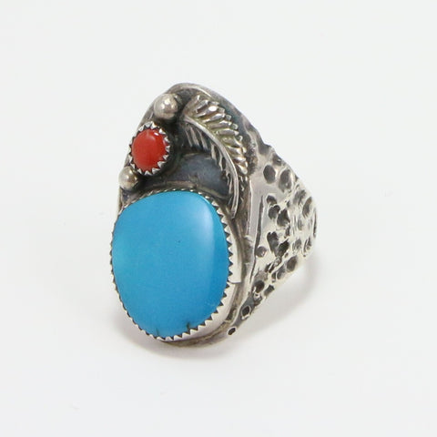 NAVAJO TURQUOISE CORAL RING - SIZE 12-Ring-BRETHREN + SISTREN