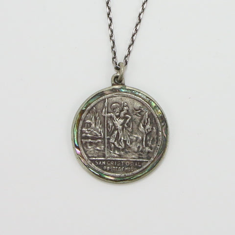 MEXICAN ABOLONE ST. CHRISTOPHER MEDAL NECKLACE-Necklaces-BRETHREN + SISTREN