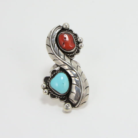 NAVAJO TURQUOISE CORAL FEATHER RING - SIZE 6-Ring-BRETHREN + SISTREN