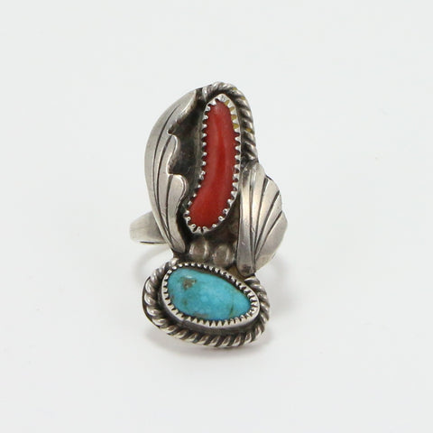 NAVAJO TURQUOISE CORAL RING - SIZE 7.5-Ring-BRETHREN + SISTREN