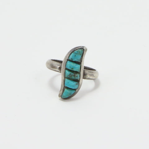 NAVAJO CARVED TURQUOISE RING - SIZE 8-Ring-BRETHREN + SISTREN