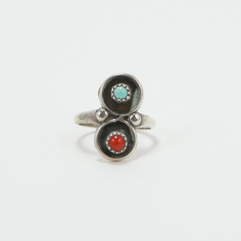 NAVAJO TURQUOISE CORAL RING - SIZE 6.5-Ring-BRETHREN + SISTREN