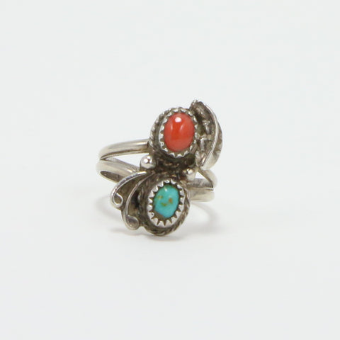 NAVAJO TURQUOISE CORAL RING - SIZE 7-Ring-BRETHREN + SISTREN
