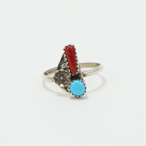 NAVAJO TURQUOISE CORAL RING - SIZE 9-Ring-BRETHREN + SISTREN