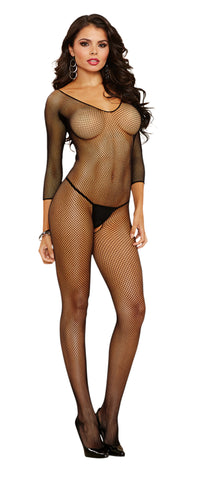 Susannah Black - Black Fishnet Open Crotch Bodystocking