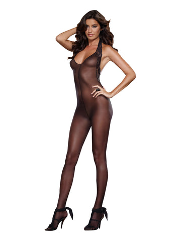 Susannah Black - Black Bodystocking with Stretch Lace