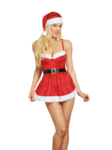Susannah Black - Red Velvet Santa Babydoll with Hat, 3 pc set