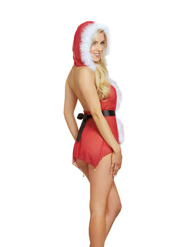 Susannah Black - Red Hooded Jingle Bell Babydoll, 3 pc set