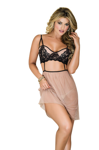 Susannah Black - Black/Nude Babydoll with G-String, 2 pc set