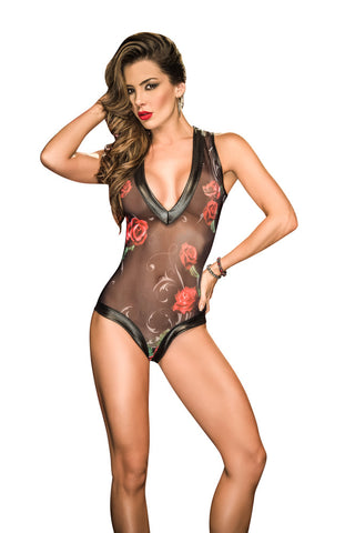 Susannah Black - Black Sheer Teddy with Rose Print