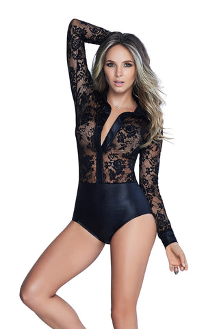 Susannah Black - Black Long Sleeve Lace Teddy