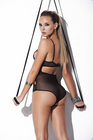 Susannah Black - Black Cut-Out Cage Teddy