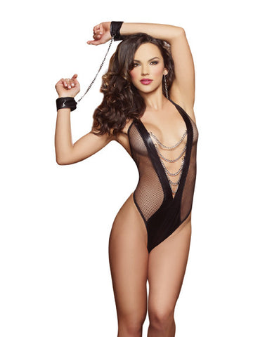 Susannah Black - Fishnet & Faux Leather-Look Teddy, 2 pc set