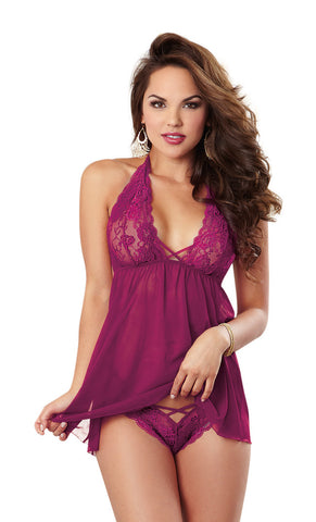 Susannah Black - Raspberry Halter Babydoll, 2 pc set