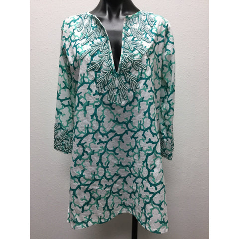 Barbara Gerwit Green & White Tunic Small