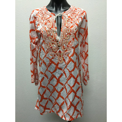 Barbara Gerwit Orange & White Tunic Small