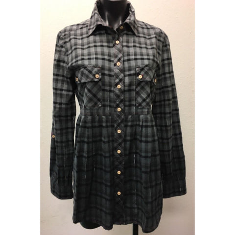 3J Workshop by Johnny Was Gray Blouse Large Black Plaid Button Down Tunic