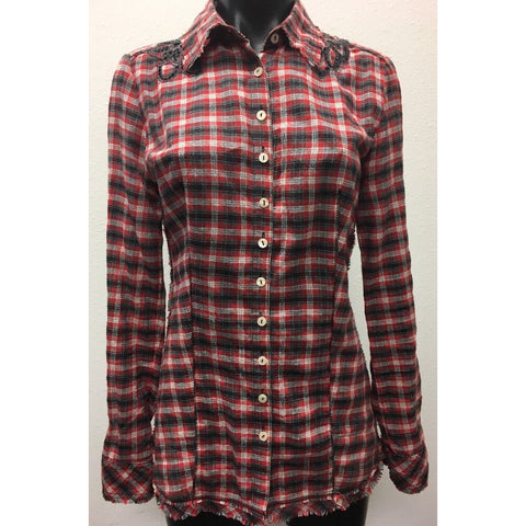 3J Workshop by Johnny Was Red Blouse Small Plaid Button Down Floral Eyelet