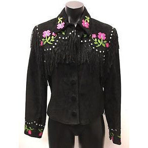 Double D Ranch Black Jacket Medium Pink Floral Embroidered Fringe Embellishment