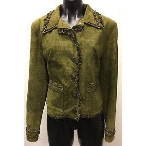 Double D Ranch Green Jacket Small Silver Studded Fringe Leather