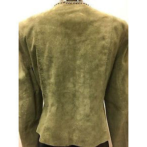 Double D Ranch Green Jacket Medium Leather Studded Turquoise Embellishment