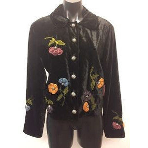 Double D Ranchwear Black Jacket Medium Velvet-Look Floral Embroidered Studs