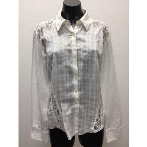 3J Workshop White Blouse Large Brown Floral Embroidered Lace Button Up