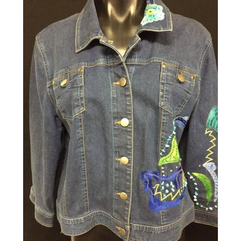 Double D Ranch Embellished Short Jean Jacket Size Large 3/4 Sleeve