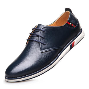 Men Casual Shoes New Fashion Genuine Leather Comfortable Flat Male Oxford Shoes Lace-Up