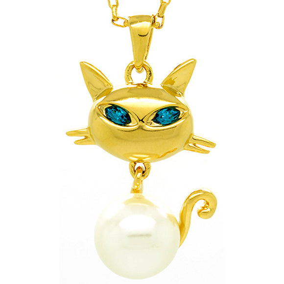 FAPPAC Simulated Pearl Cat Pendant Necklace Enriched with Swarovski Crystals - Beltran's Enterprise