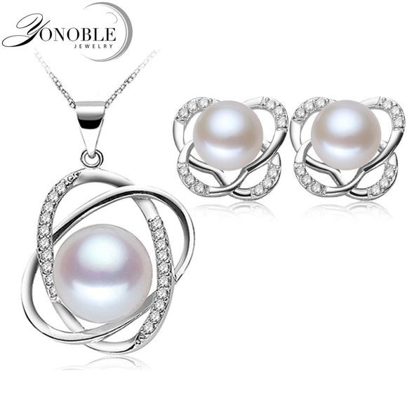 Real Freshwater Natural Pearl Jewelry bridal Jewelry Sets 925 silver jewelry Earring Pendant White Girl Birthday Gift Top Grade