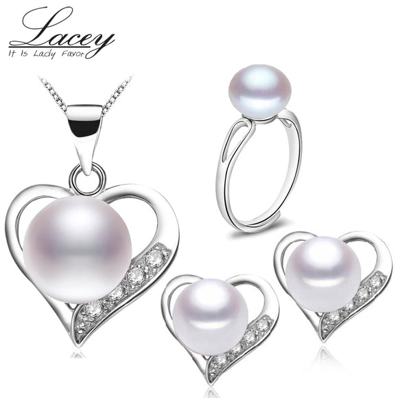 Real natural pearl jewelry sets 925 sterling silver,wedding jewelry sets for women,big pearl jewelry - Beltran's Enterprise