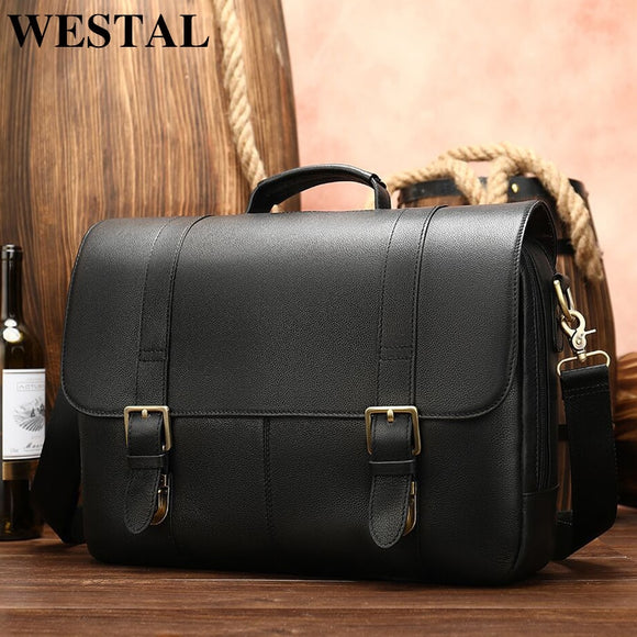 WESTAL men's briefcase leather laptop bag for men document bag men's genuine leather office bag - Beltran's Enterprise