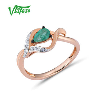 VISTOSO Gold Rings For Women Genuine 14K 585 Rose Gold Ring Magic Emerald Sparkling Diamond - Beltran's Enterprise