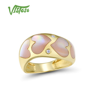 VISTOSO Gold Rings For Women Genuine 14K 585 Yellow Gold Ring Sparkling Diamond Fancy - Beltran's Enterprise
